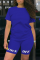 Royal Blue Casual Print Split Joint O Neck Short Sleeve Two Pieces