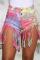 Pink Sexy Patchwork Tassel Tie-dye High Waist Regular Denim Shorts