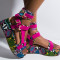 Rose Red Casual Street Split Joint Tie-dye Fish Mouth Out Door Shoes