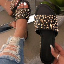 Black Sexy Street Rivets Split Joint Opend Out Door Shoes