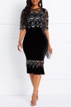Black Fashion Sexy Sequin See-through Skinny Bodycon Dress