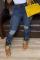 Blue Casual Patchwork Ripped Mid Waist Regular Denim Jeans