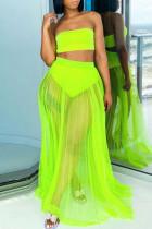 Fluorescent Green Solid Split Joint Strapless Plus Size Swimwear