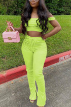 Fluorescent green Sexy Fashion Trousers Sports Two-piece Set