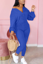 Blue Fashion Casual Solid zipper Cotton Long Sleeve O Neck Jumpsuits