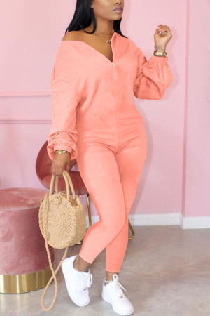 Pink Fashion Casual Solid zipper Cotton Long Sleeve O Neck Jumpsuits