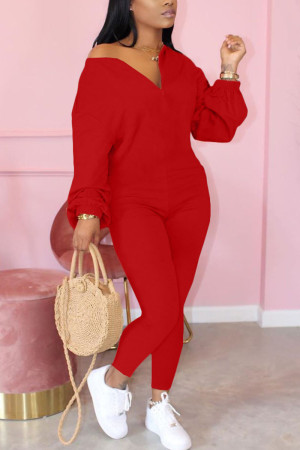 Red Fashion Casual Solid zipper Cotton Long Sleeve O Neck Jumpsuits