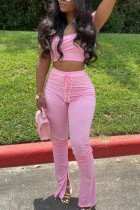 Pink Sexy Fashion Trousers Sports Two-piece Set