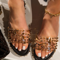 Yellow Black Sexy Street Rivets Split Joint Opend Out Door Shoes