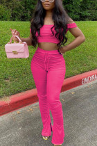 Rose Red Sexy Fashion Trousers Sports Two-piece Set