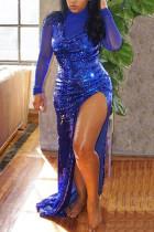 Blue Fashion Sexy Sequin Dress Set