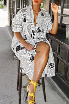 White Fashion Printed Blending Knee Length Dress