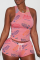 Pink Sexy Print Split Joint U Neck Sleeveless Two Pieces