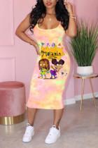 Pink Fashion Sexy Print Suspender Dress
