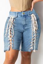 Medium Blue Street Cross Straps Straight Mid Waist Plus Size Denim Shorts