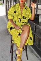 Yellow Fashion Printed Blending Knee Length Dress