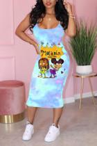 Blue Fashion Sexy Print Suspender Dress