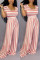 Pink Casual Fashion Asymmetrical Striped Polyester Short Sleeve Peter Pan Collar  Jumpsuits