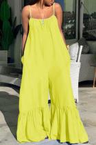 Yellow Sexy Print Solid Split Joint Spaghetti Strap Regular Jumpsuits