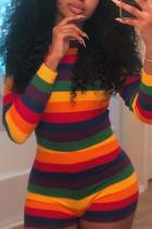 Multicolor Mstn Euramerican Striped Multicolor Blending One-piece Rompers
