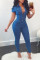 Blue Fashion Turndown Collar Buttons Denim One-piece Jumpsuits