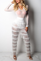 White Sexy Tassel Design Lace One-piece Jumpsuit(Without Bra)
