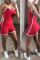 Red Sportswear Patchwork Regular Jumpsuits