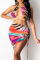 Multicolor Sexy Print Draw String Halter Sleeveless Two Pieces