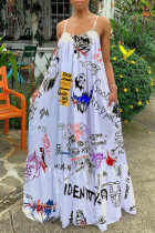 White Sexy Print Tie-dye Fold Spaghetti Strap Cake Skirt Dresses