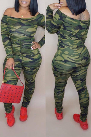 Camo Casual Camouflage Printed One-piece Jumpsuit