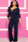 Navy Blue Sexy Solid Patchwork Long Sleeve V Neck Jumpsuits