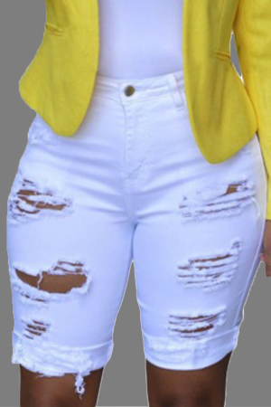 White Casual Patchwork Ripped Mid Waist Straight Denim Shorts