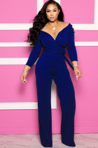 Colorful blue Sexy Solid Patchwork Long Sleeve V Neck Jumpsuits