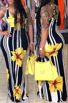 Yellow Fashion Spaghetti Strap Sleeveless Slip Sheath Floor-Length Paisley Print Floral Dresses