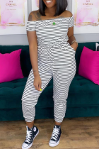White Casual Striped Split Joint Off the Shoulder Skinny Jumpsuits