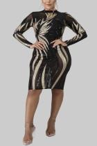 Black Fashion Sexy Large Size Sequin Dress