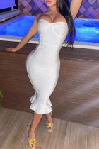 White Sexy Solid Split Joint Off the Shoulder Evening Dress Dresses