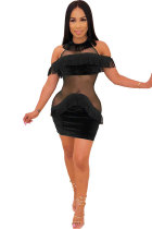 Black Sexy Fashion Off The Shoulder Short Sleeves O neck Step Skirt Mini Sequin Mesh Patchwork backless ho