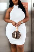 White Fashion Sexy Plus Size Solid Basic Turtleneck Sleeveless Dress
