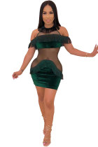 Green Sexy Fashion Off The Shoulder Short Sleeves O neck Step Skirt Mini Sequin Mesh Patchwork backless ho