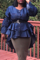 Blue Polyester O Neck Long Sleeve asymmetrical Patchwork ruffle  Long Sleeve Tops