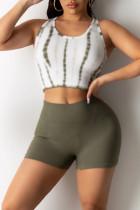 Green Casual Sportswear Print Basic O Neck Sleeveless Two Pieces