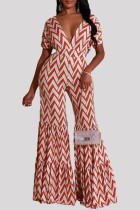 Pink Fashion Casual Print Basic V Neck Regular Jumpsuits
