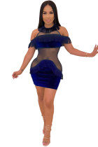 Blue Sexy Fashion Off The Shoulder Short Sleeves O neck Step Skirt Mini Sequin Mesh Patchwork backless ho
