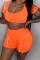 Tangerine Red Sportswear Solid Split Joint U Neck Short Sleeve Two Pieces