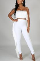 White Sexy Tassels Strapless Slim Two-Piece Suit