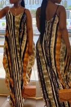 Brown Sexy Casual Print Basic V Neck Sling Dress
