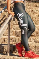 Black Casual Sportswear Letter Print Basic Skinny High Waist Pencil Trousers