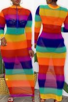 Rainbow Color Sexy Casual Print See-through Zipper Collar Long Sleeve Dresses