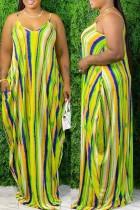 Green Fashion Casual Print Basic V Neck Sling Dress